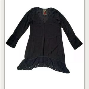 Johnny Was Black Eyelet tunic top black